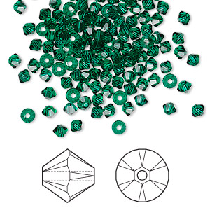 bead, swarovski crystals, crystal passions, emerald, 3mm xilion bicone (5328). sold per pkg of 48.
