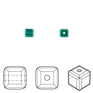 bead, swarovski crystals, crystal passions, emerald, 4x4mm faceted cube (5601). sold per pkg of 48.