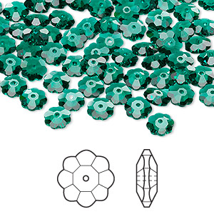 bead, swarovski crystals, crystal passions, emerald, 6x2mm faceted marguerite lochrose flower (3700). sold per pkg of 12.