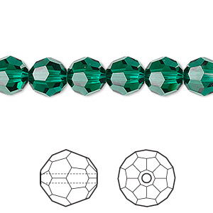 bead, swarovski crystals, crystal passions, emerald, 8mm faceted round (5000). sold per pkg of 12.