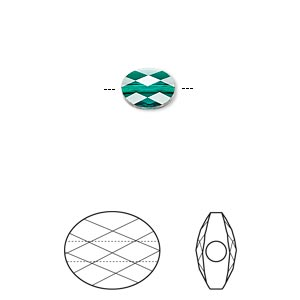bead, swarovski crystals, crystal passions, emerald, 8x6mm faceted mini oval (5051). sold per pkg of 24.