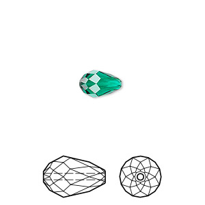 bead, swarovski crystals, crystal passions, emerald, 9x6mm faceted teardrop (5500). sold per pkg of 144 (1 gross).