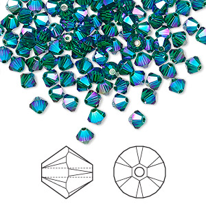 bead, swarovski crystals, crystal passions, emerald ab2x, 4mm xilion bicone (5328). sold per pkg of 144 (1 gross).