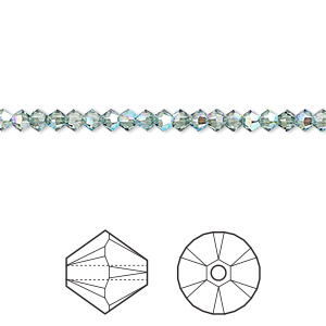 bead, swarovski crystals, crystal passions, erinite shimmer, 3mm xilion bicone (5328). sold per pkg of 144 (1 gross).