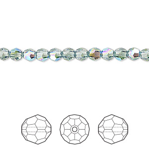 bead, swarovski crystals, crystal passions, erinite shimmer, 4mm faceted round (5000). sold per pkg of 144 (1 gross).