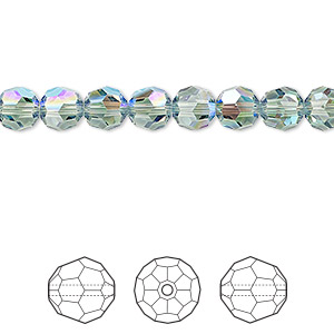 bead, swarovski crystals, crystal passions, erinite shimmer, 6mm faceted round (5000). sold per pkg of 144 (1 gross).