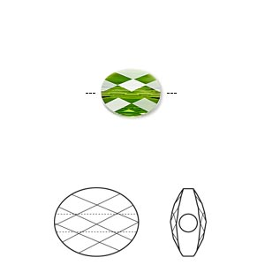 bead, swarovski crystals, crystal passions, fern green, 10x8mm faceted mini oval (5051). sold per pkg of 2.
