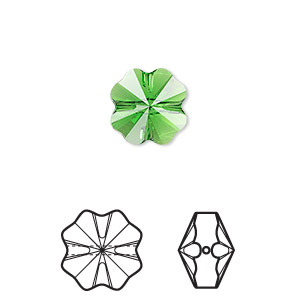 bead, swarovski crystals, crystal passions, fern green, 12x12mm faceted clover (5752). sold per pkg of 12.