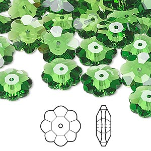 bead, swarovski crystals, crystal passions, fern green, 12x4mm faceted marguerite lochrose flower (3700). sold per pkg of 144 (1 gross).