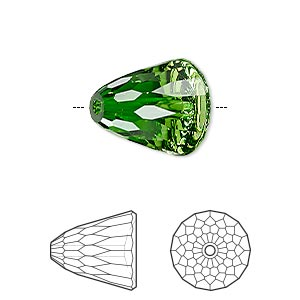 bead, swarovski crystals, crystal passions, fern green, 15x13.5mm faceted dome large (5541). sold per pkg of 6.