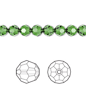 bead, swarovski crystals, crystal passions, fern green, 6mm faceted round (5000). sold per pkg of 12.