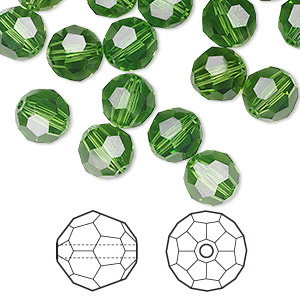 bead, swarovski crystals, crystal passions, fern green, 8mm faceted round (5000). sold per pkg of 144 (1 gross).