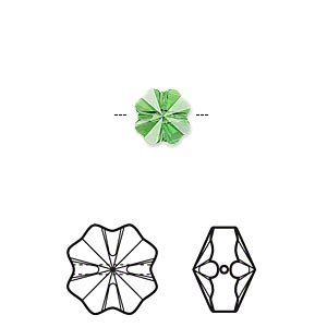 bead, swarovski crystals, crystal passions, fern green, 8x8mm faceted clover (5752). sold per pkg of 6.