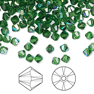 bead, swarovski crystals, crystal passions, fern green ab, 4mm xilion bicone (5328). sold per pkg of 144 (1 gross).