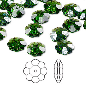 bead, swarovski crystals, crystal passions, fern green white patina, 10x3.5m faceted marguerite lochrose flower (3700). sold per pkg of 12.