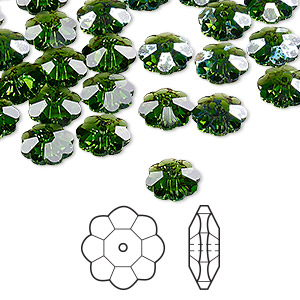 bead, swarovski crystals, crystal passions, fern green white patina, 8x3mm faceted marguerite lochrose flower (3700). sold per pkg of 144 (1 gross).