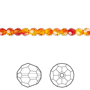 bead, swarovski crystals, crystal passions, fireopal, 4mm faceted round (5000). sold per pkg of 12.