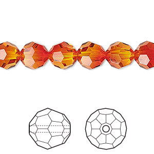 bead, swarovski crystals, crystal passions, fireopal, 8mm faceted round (5000). sold per pkg of 12.