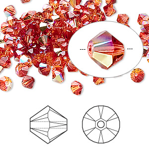bead, swarovski crystals, crystal passions, fireopal ab, 4mm xilion bicone (5328). sold per pkg of 144 (1 gross).