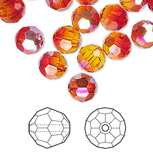 bead, swarovski crystals, crystal passions, fireopal ab, 8mm faceted round (5000). sold per pkg of 12.