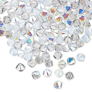 bead, swarovski crystals, crystal passions, frost, 4mm xilion bicone (5328). sold per pkg of 48.