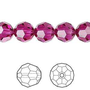 bead, swarovski crystals, crystal passions, fuchsia, 10mm faceted round (5000). sold per pkg of 24.