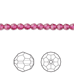 bead, swarovski crystals, crystal passions, fuchsia, 4mm faceted round (5000). sold per pkg of 144 (1 gross).