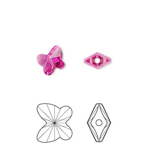 bead, swarovski crystals, crystal passions, fuchsia, 8x7mm faceted butterfly (5754). sold per pkg of 48.