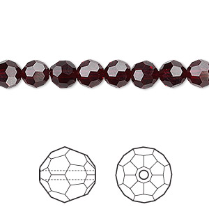 bead, swarovski crystals, crystal passions, garnet, 6mm faceted round (5000). sold per pkg of 12.