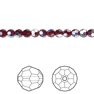 bead, swarovski crystals, crystal passions, garnet ab, 4mm faceted round (5000). sold per pkg of 12.