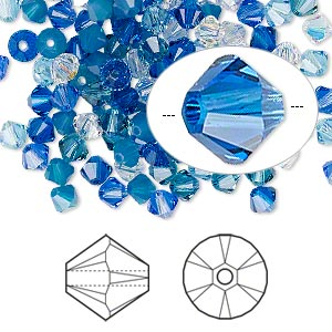 bead, swarovski crystals, crystal passions, glacier, 4mm xilion bicone (5328) and faceted bicone (5301). sold per pkg of 48.