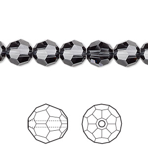 bead, swarovski crystals, crystal passions, graphite, 8mm faceted round (5000). sold per pkg of 144 (1 gross).