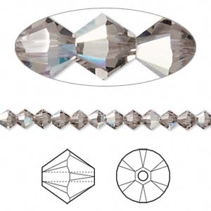bead, swarovski crystals, crystal passions, greige ab, 4mm xilion bicone (5328). sold per pkg of 48.