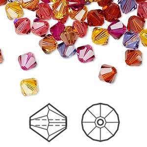 bead, swarovski crystals, crystal passions, heat, 6mm xilion bicone (5328) and faceted bicone (5301). sold per pkg of 144 (1 gross).