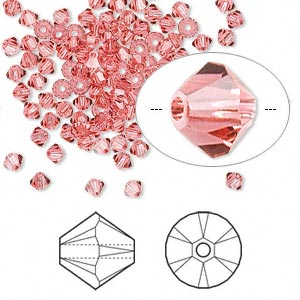bead, swarovski crystals, crystal passions, indian pink, 3mm xilion bicone (5328). sold per pkg of 144 (1 gross).