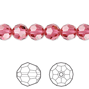 bead, swarovski crystals, crystal passions, indian pink, 8mm faceted round (5000). sold per pkg of 12.