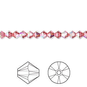 bead, swarovski crystals, crystal passions, indian pink ab, 4mm xilion bicone (5328). sold per pkg of 48.