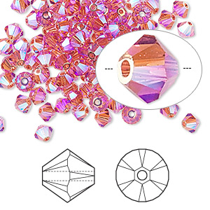 bead, swarovski crystals, crystal passions, indian pink ab2x, 4mm xilion bicone (5328). sold per pkg of 144 (1 gross).