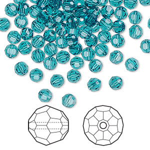 bead, swarovski crystals, crystal passions, indicolite, 4mm faceted round (5000). sold per pkg of 144 (1 gross).