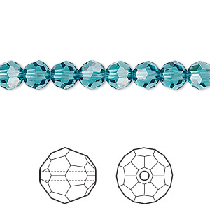 bead, swarovski crystals, crystal passions, indicolite, 6mm faceted round (5000). sold per pkg of 12.