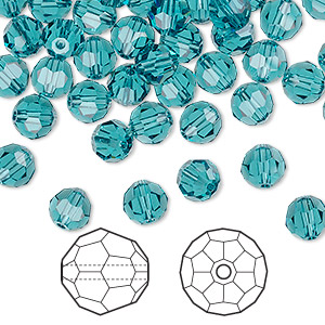 bead, swarovski crystals, crystal passions, indicolite, 6mm faceted round (5000). sold per pkg of 144 (1 gross).