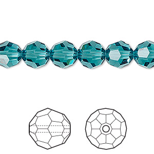 bead, swarovski crystals, crystal passions, indicolite, 8mm faceted round (5000). sold per pkg of 12.