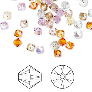 bead, swarovski crystals, crystal passions, innocence, 4mm xilion bicone (5328). sold per pkg of 48.