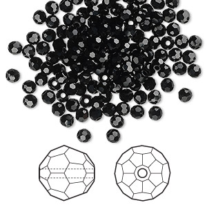 bead, swarovski crystals, crystal passions, jet, 3mm faceted round (5000). sold per pkg of 144 (1 gross).