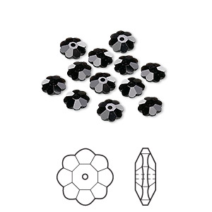 bead, swarovski crystals, crystal passions, jet, 6x2mm faceted marguerite lochrose flower (3700). sold per pkg of 12.