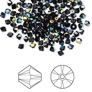 bead, swarovski crystals, crystal passions, jet ab, 3mm xilion bicone (5328). sold per pkg of 144 (1 gross).
