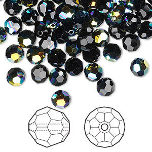 bead, swarovski crystals, crystal passions, jet ab, 8mm faceted round (5000). sold per pkg of 144 (1 gross).