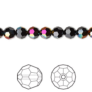 bead, swarovski crystals, crystal passions, jet astral pink, 6mm faceted round (5000). sold per pkg of 12.