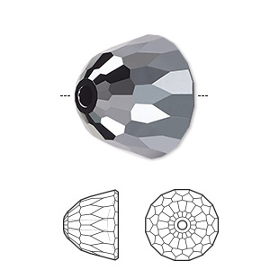 bead, swarovski crystals, crystal passions, jet hematite, 10x8mm faceted dome small (5542). sold per pkg of 6.