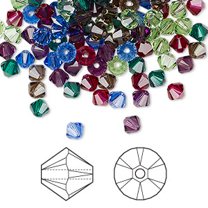 bead, swarovski crystals, crystal passions, jewel, 4mm xilion bicone (5328). sold per pkg of 48.
